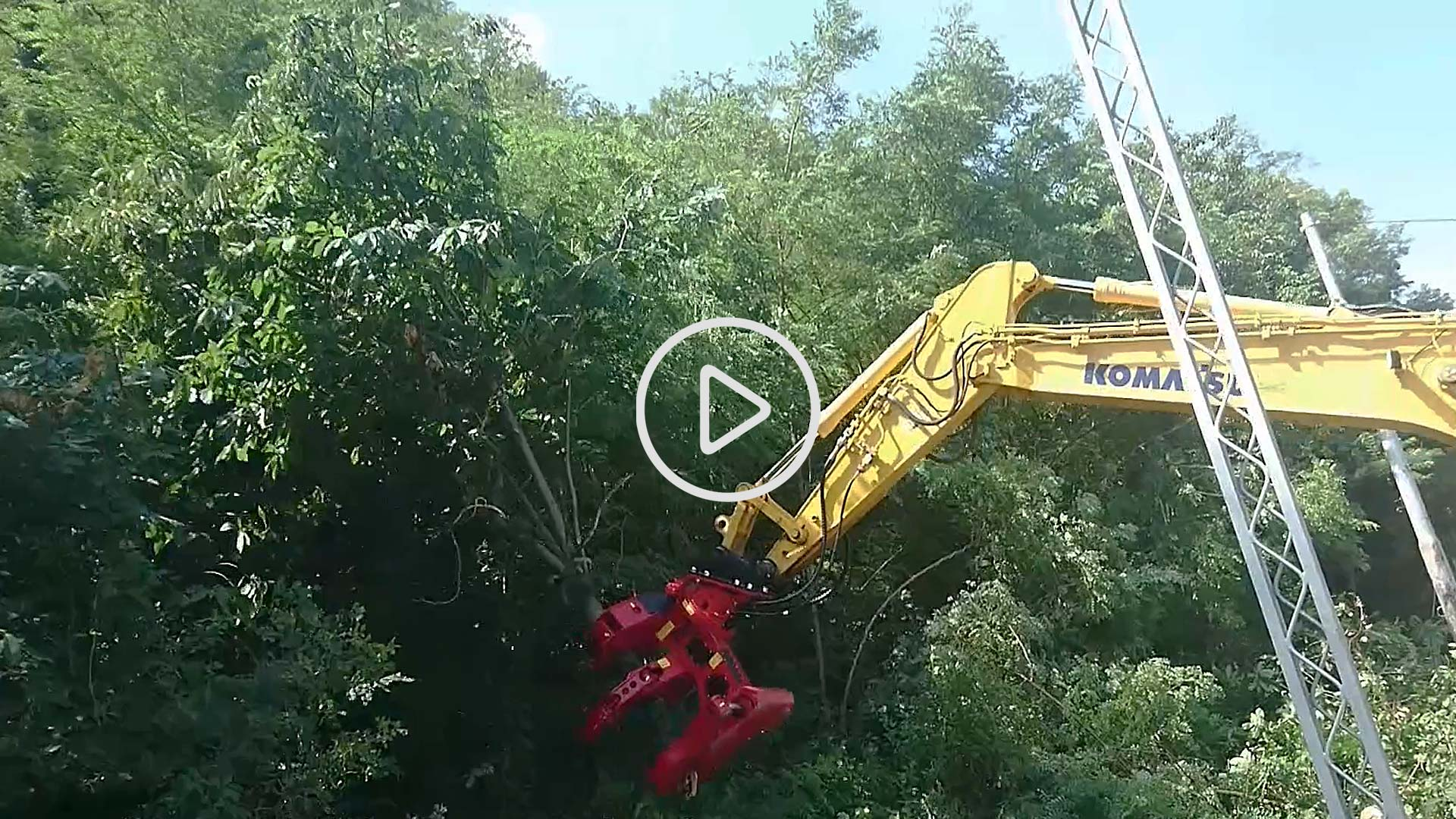 escavatore komatsu pinza forestale deforestatrice